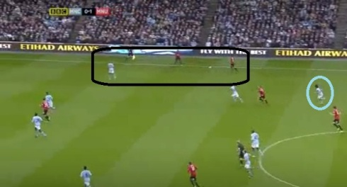 Silva (circled) is caught upfield and United have a two-on-one with left-back Clichy.
